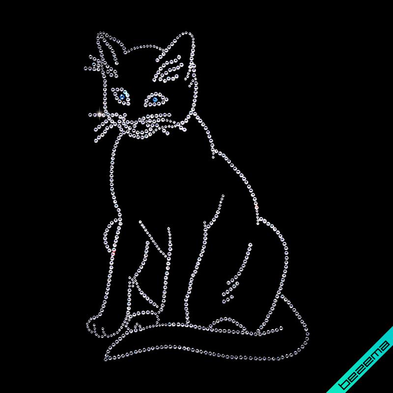 Рисунки на сапоги Кошка (Стекло,2мм-аквамар.,3мм-бел.)