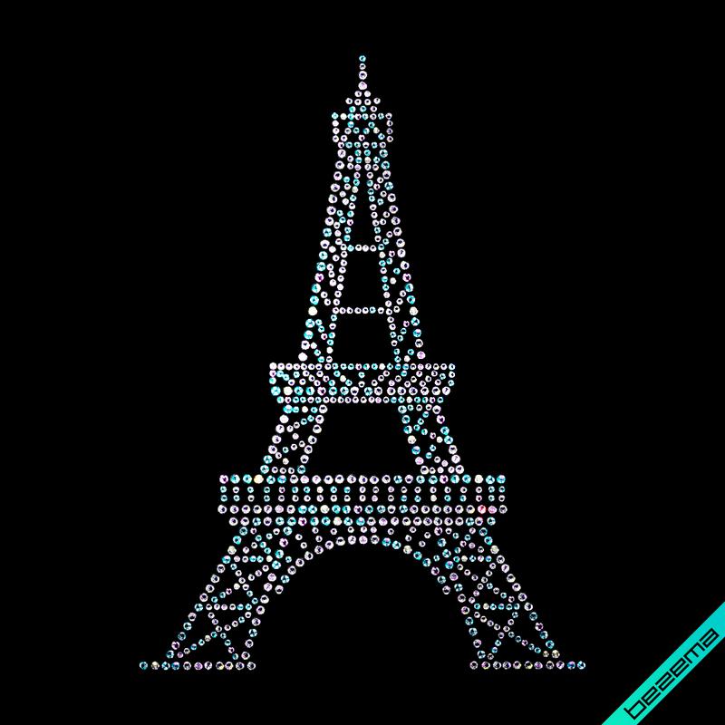 Дизайн на челочно-носочные изделия Эйфелева Башня (Стекло, 2мм-бенз., 3мм-син.)