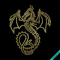 Декор из страз на парео Дракон  (Стекло, 2мм-жел., 3мм-бенз.)