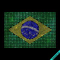 Термопечать на головные уборы Флаг Бразилии (Стекло,2мм-бел.,3мм-жел.,4мм-зел.,2мм-электрик)