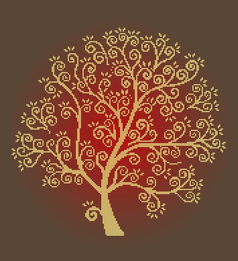 Схема для вышивки / вышивания бисером «Золоте дерево» Коричневий фон(40x45)