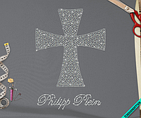 Термонаклейки из страз на плащи Крест (Стекло,3мм-бел.,4мм-бенз.), фото 1