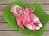 """Велюровый человечек на выписку для новорожденных с шапочкой """"Панда"""" (розовый)"""