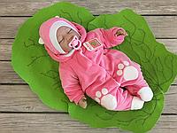 """Велюровый человечек на выписку для новорожденных с шапочкой """"Панда"""" (розовый), фото 1"""