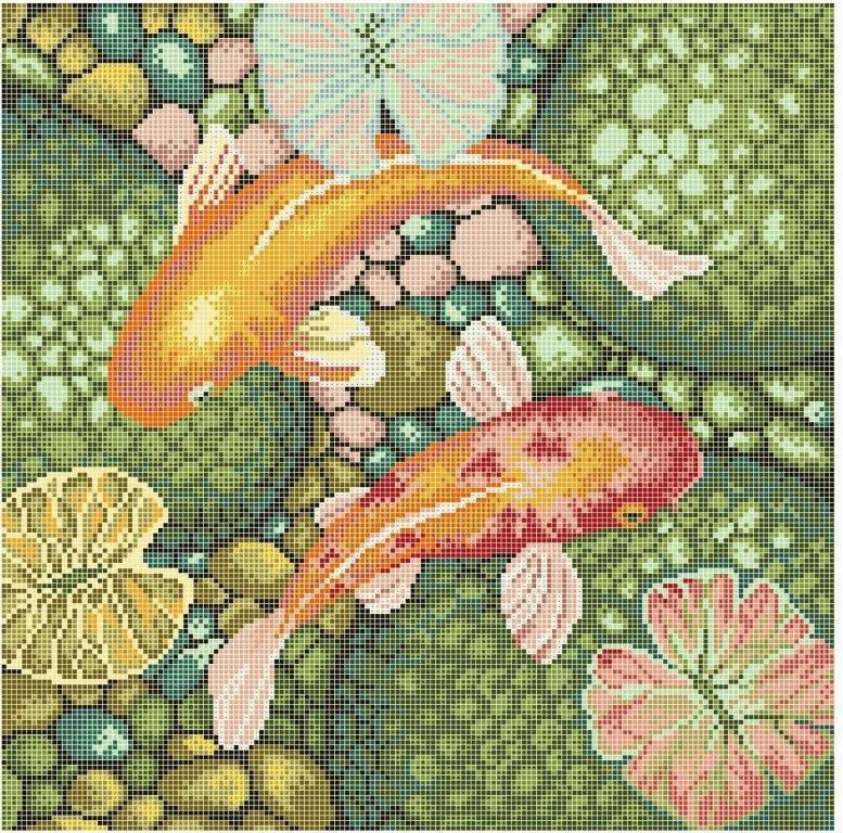 Схема для вышивки / вышивания бисером «Золоті Рибки» (40x45)