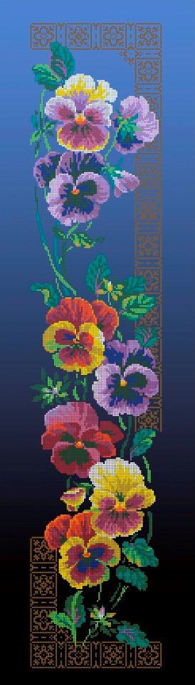 Схема для вышивки / вышивания бисером «Братики»  синій фон (30x100)
