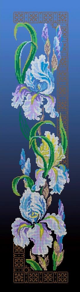 Схема для вышивки / вышивания бисером «Іриси» синій фон (30x100)