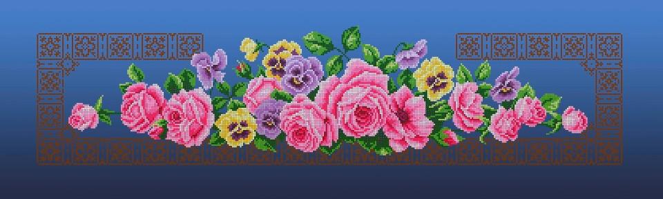 Схема для вышивки / вышивания бисером «Рожеві троянди» синій фон (30x100)