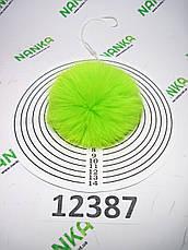 Меховой помпон Кролик, Неон Салат, 8 см, 12387, фото 2