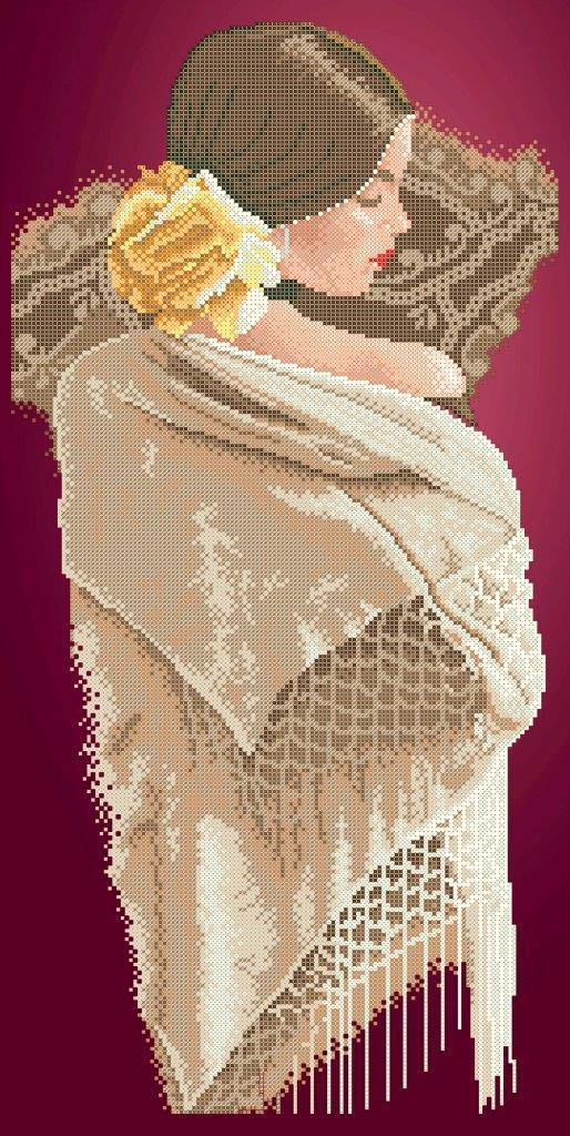 Схема для вышивки / вышивания бисером «Іспанка біла шаль» (30x60)