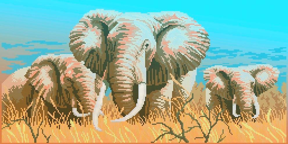 Схема для вышивки / вышивания бисером «Слоны» (30x60)