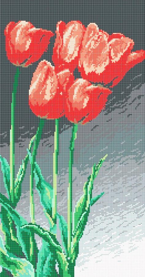 Схема для вышивки / вышивания бисером «Тюльпаны» (30x60)