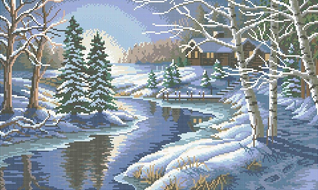 Схема для вышивки / вышивания бисером «Зимова річка» (30x60)