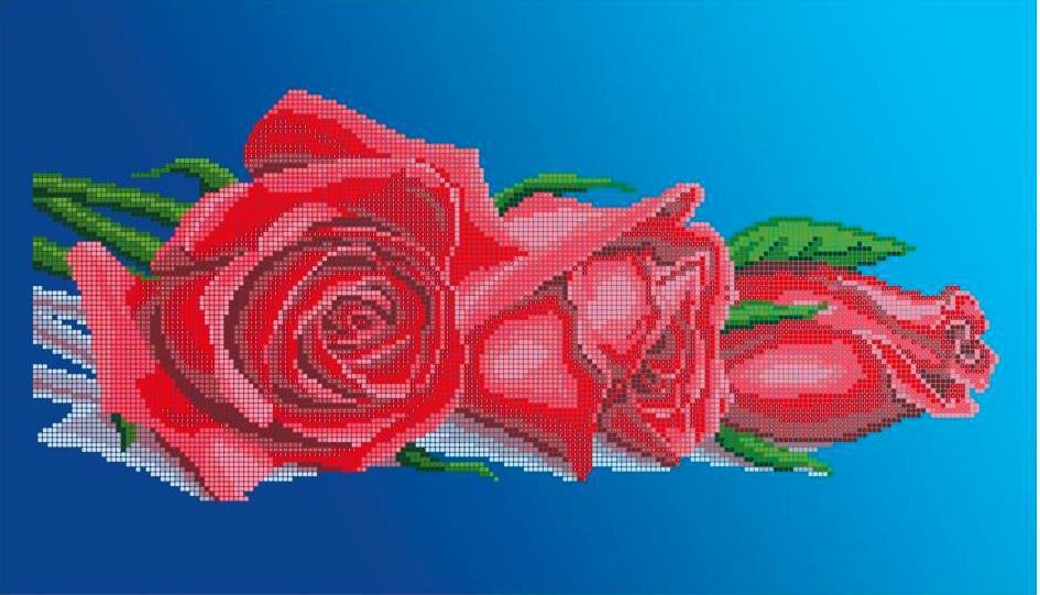 Схема для вышивки / вышивания бисером «Червоні троянди» (30x50)