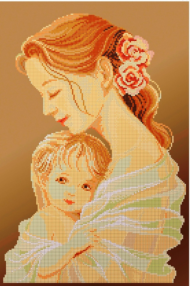 Схема для вышивки / вышивания бисером «Мати і дитя» коричневий фон (30x50)