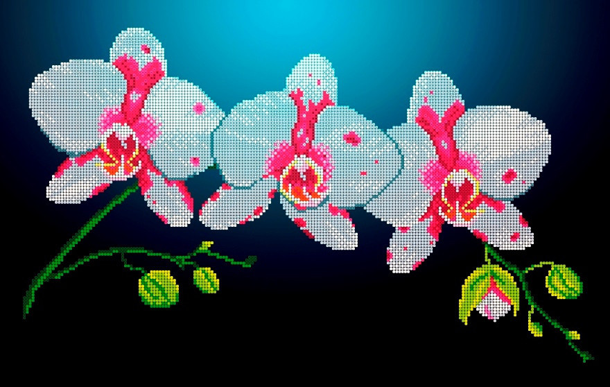 Схема для вышивки / вышивания бисером «Горизонтальна орхідея» (30x50)