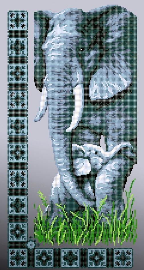 Схема для вышивки / вышивания бисером «Слони» (30x50)