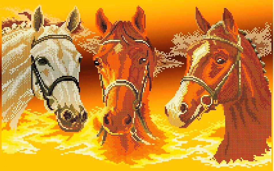 Схема для вышивки / вышивания бисером «Три коня» (30x50)