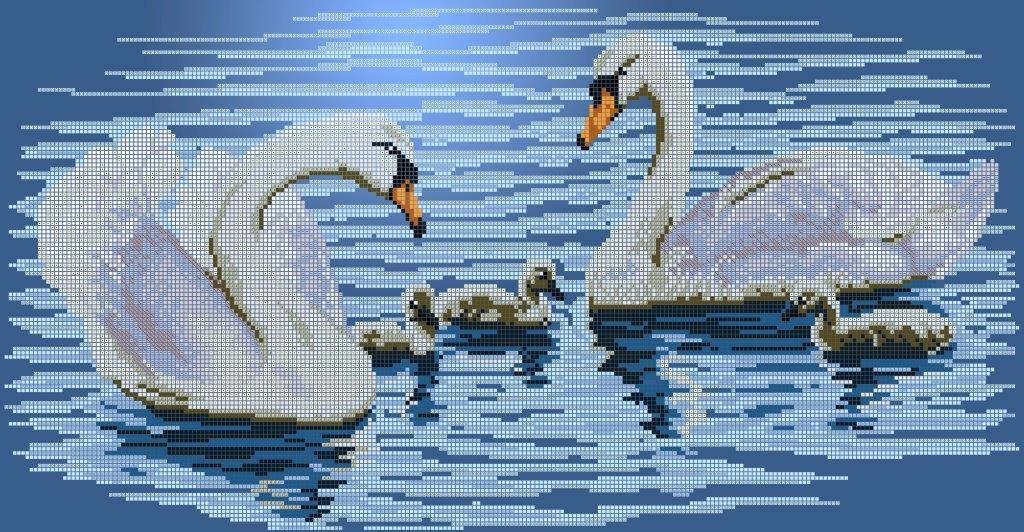 "Схема для вышивки / вышивания бисером «Сім""я лебедів» (30x50)"