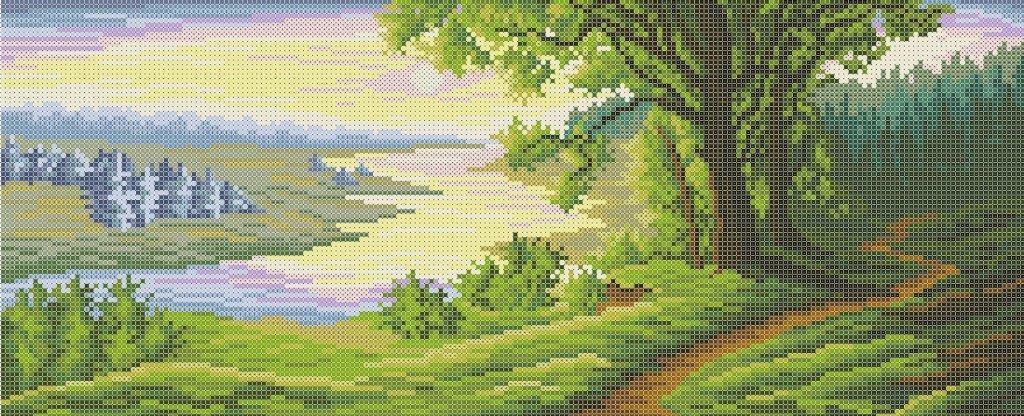 Схема для вышивки / вышивания бисером «Біля річки» (30x50)