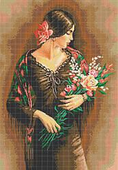 Схема для вышивки / вышивания бисером «Іспанка з квітами» (A1) 60x80