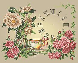 Схема для вышивки / вышивания бисером «Годинник з трояндами»   (A2) 40x60
