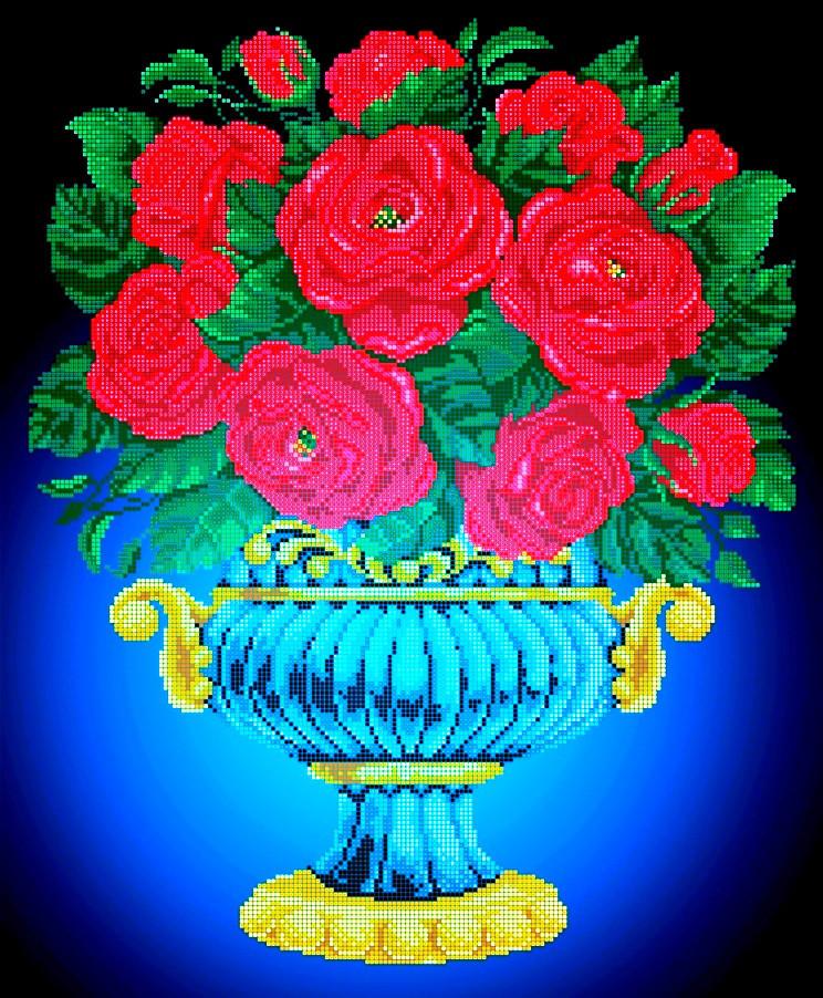 Схема для вышивки / вышивания бисером «Ваза з червоними трояндами» (A2) 40x60
