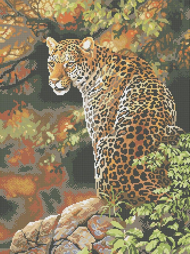 Схема для вышивки / вышивания бисером «Леопард 7055»   (A2) 40x60