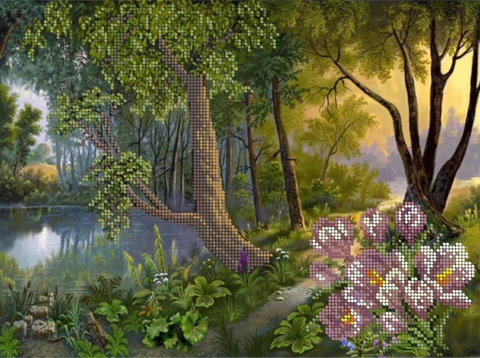 Схема для вышивки / вышивания бисером «Весняний ліс» (A3) 30x40