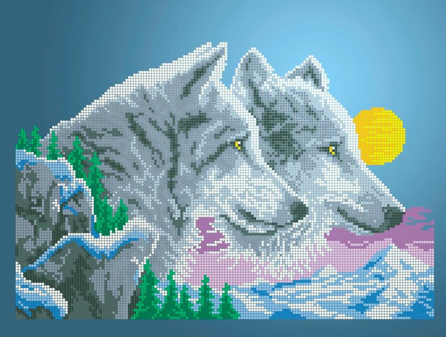 Схема для вышивки / вышивания бисером «Вовки і місяць» (A3) 30x40