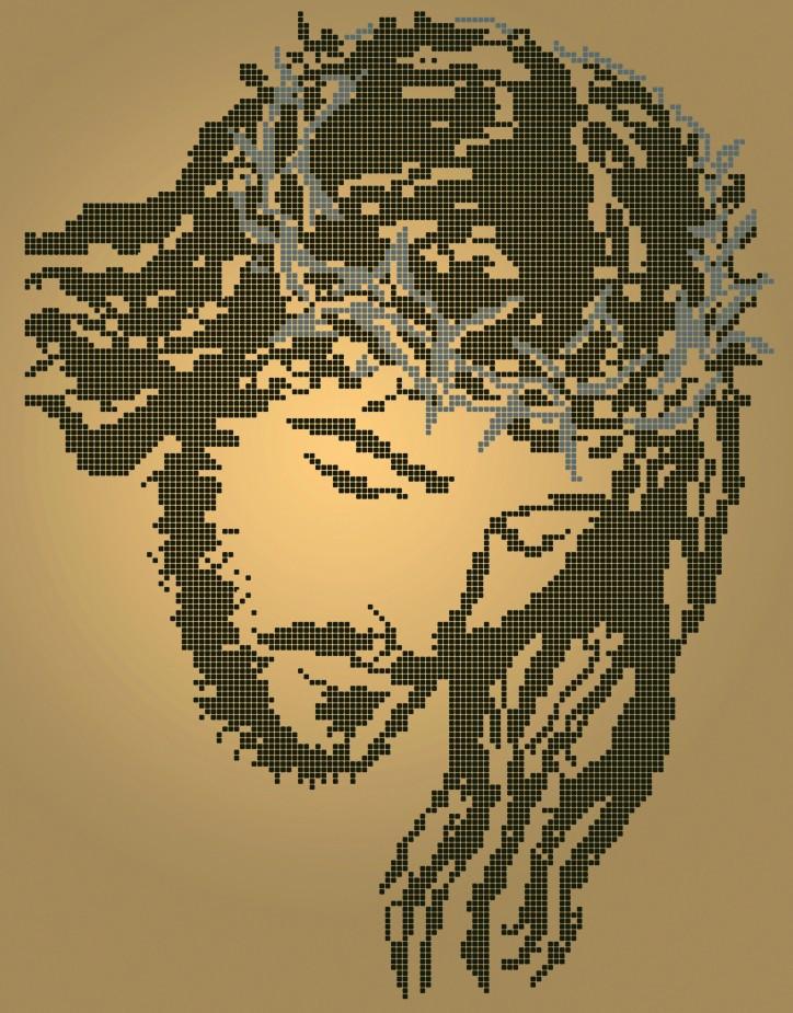Схема для вышивки / вышивания бисером «Ісус у терновому вінці» Коричневий фон(A3) 30x40
