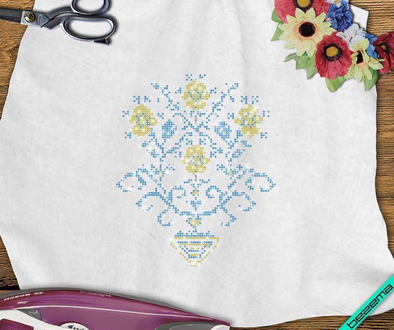 Декор на брюки Цветок (Стекло,2мм-зол.,2мм-син.)
