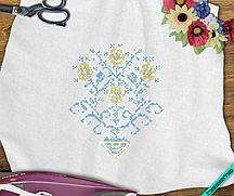 Декор для бизнеса на брюки Цветок  (Стекло,2мм-зол.,2мм-син.)