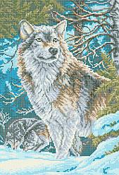 Схема для вышивки / вышивания бисером «Волк в лесу» (A3) 30x40