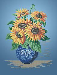 Схема для вышивки / вышивания бисером «Подсолнухи в вазе» (A3) 30x40