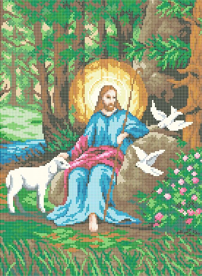 Схема для вышивки / вышивания бисером «Иисус с ягненком» (A3) 30x40