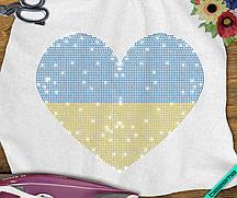 Термопечать на одеяла Сердце (Стекло,2мм-син.,2мм-жел.)