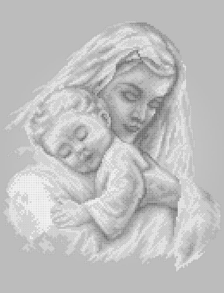 Схема для вышивки / вышивания бисером «Мати і дитина 5181» сірий фон (A3) 30x40
