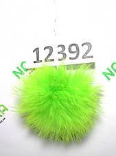 Меховой помпон Кролик, Неон Салат, 8 см, 12392, фото 2