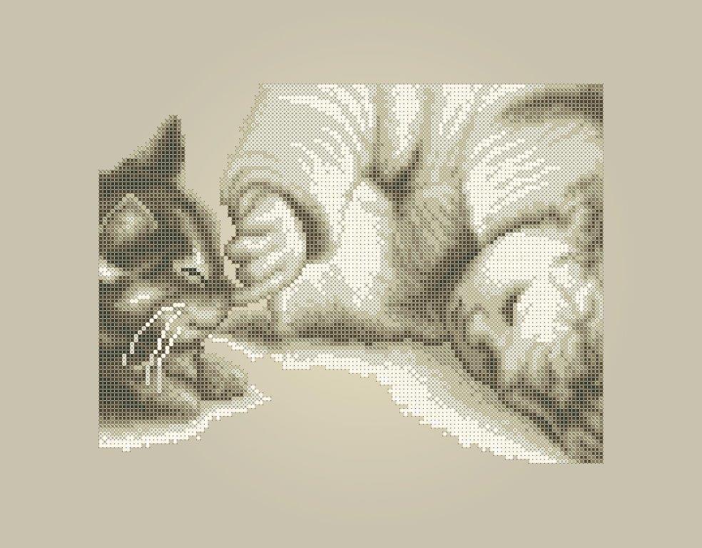 Схема для вышивки / вышивания бисером «Немовля з кошенятком» Коричневий фон (A3) 30x40