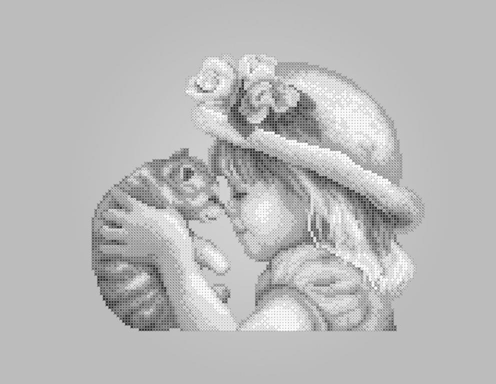 Схема для вышивки / вышивания бисером «Дівчинка з кошенятком» Сірий фон (A3) 30x40