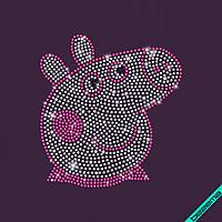 Стрази на топи Хрюшка Пеппі (Скло,2мм-біл.,2мм-троянд.,2мм-черн.)