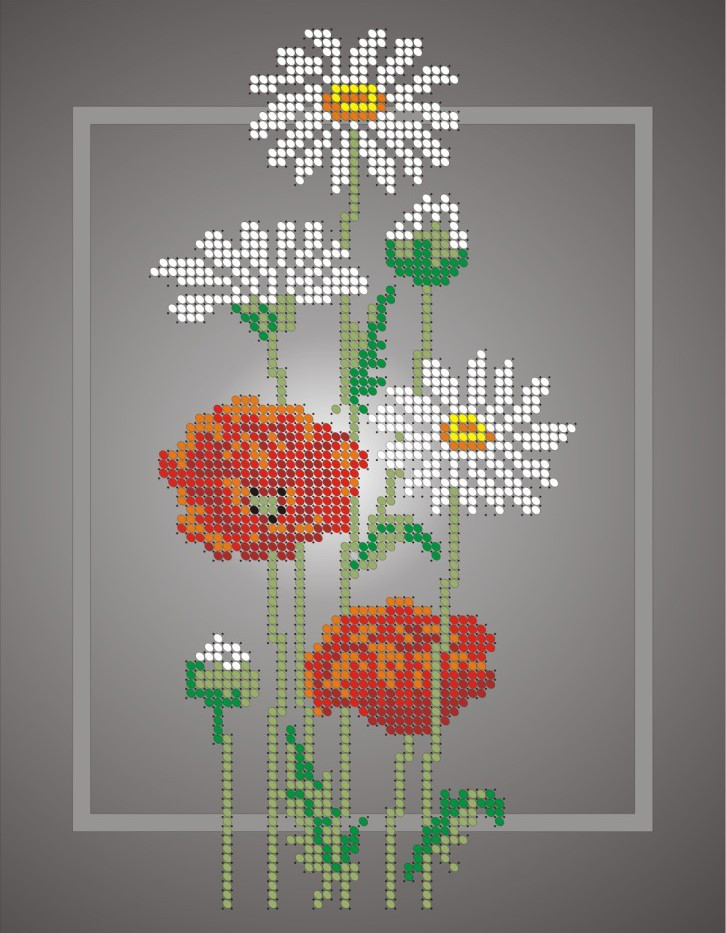 Схема для вышивки / вышивания бисером «Ромашки і маки» (A4) 20x25
