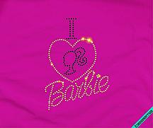 Переводки на платья термо I love Barbie (Стекло,2мм-жел.,2мм-черн.)