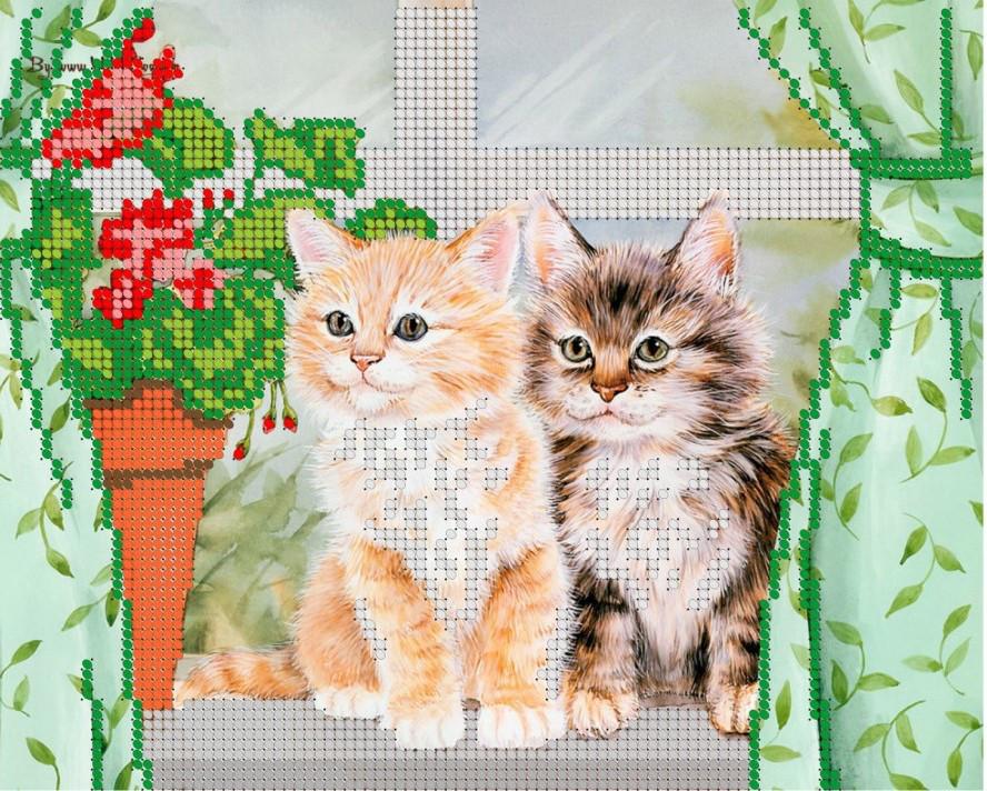 Схема для вышивки / вышивания бисером «Кішки на вікні» (A4) 20x25