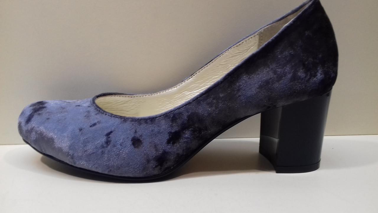 3038c3185 Туфли женские из бархата рр. 35-44 каблук 6 см внутри натуральная кожа  размер