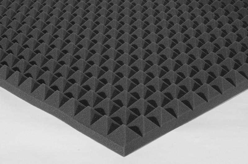Акустичний поролон Ecosound піраміда 70мм 2х1м чорний графіт