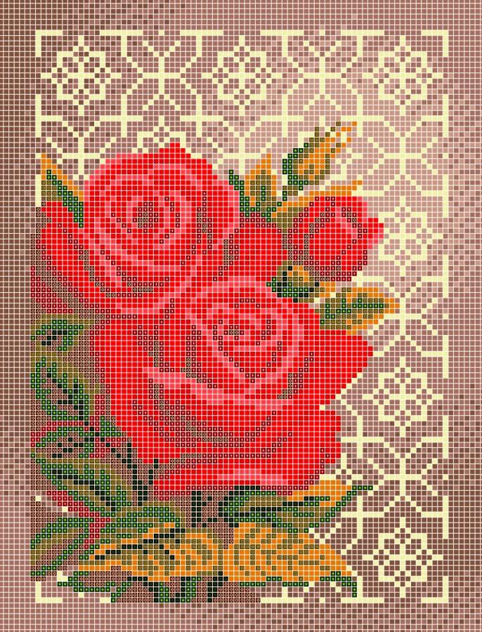 Схема для вышивки / вышивания бисером «Роза в орнаменті» (A4) 20x25