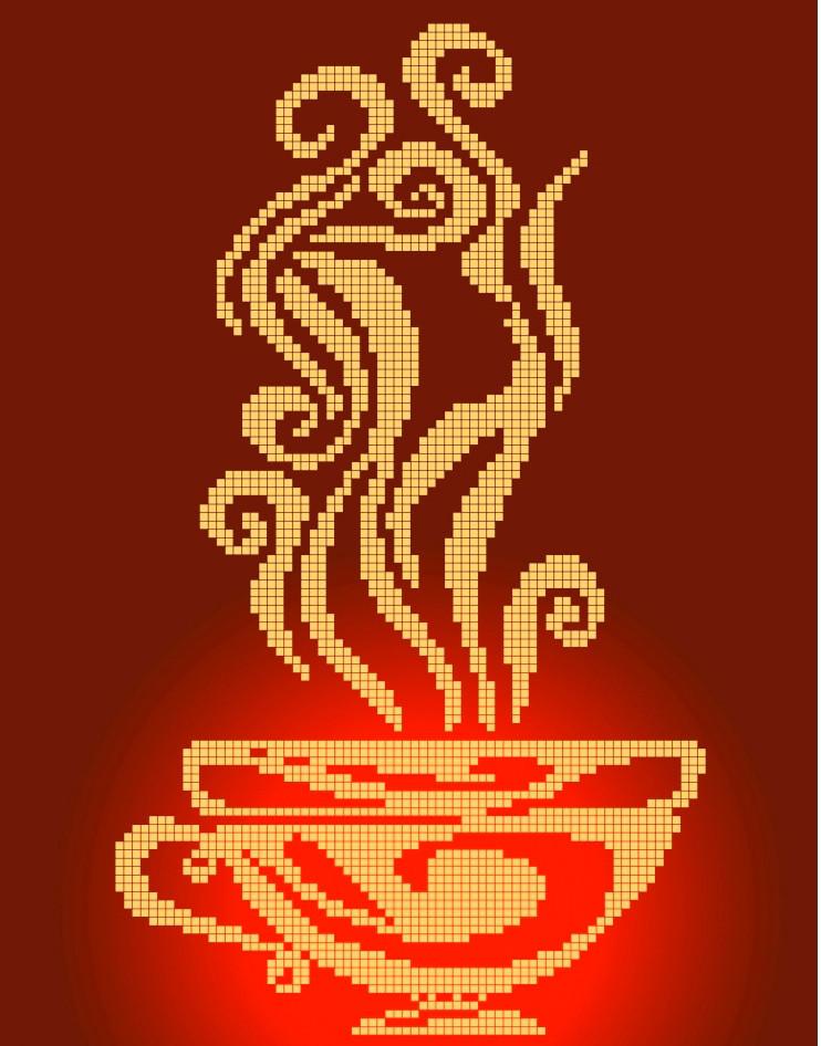Схема для вышивки / вышивания бисером «Чашка-силует» (A4) 20x25
