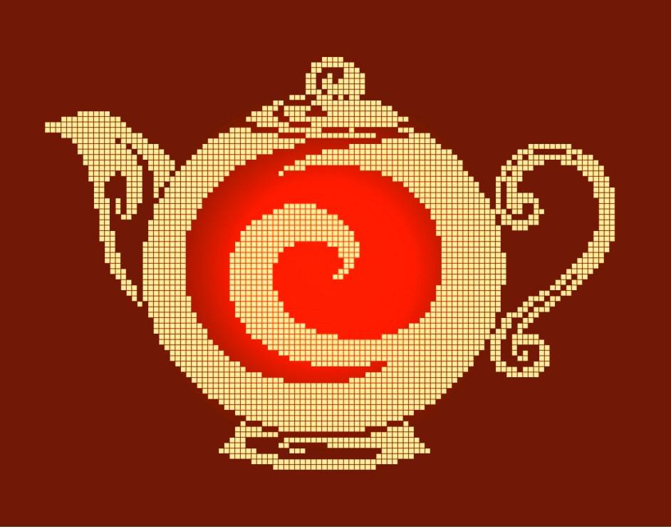 Схема для вышивки / вышивания бисером «Чайник монохром» (A4) 20x25
